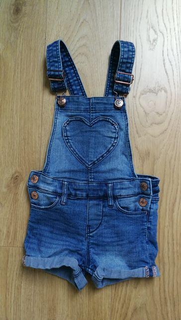 H&M Spodnie ogrodniczki 92 jeans, dżins, szorty