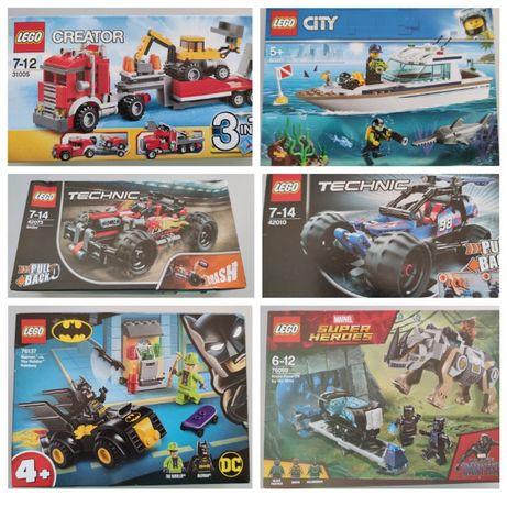 Varios Legos em caixa selados TECHNIC, CREATOR, CITY, Batman, Marvel