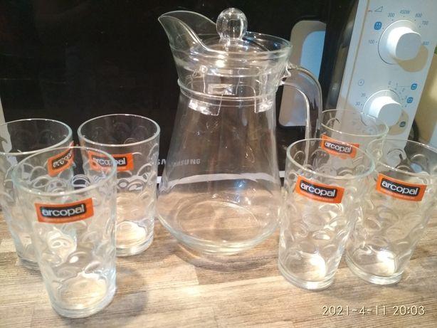 Графин, кувшин набор для напитков Arcopal Lancier,набор стаканов ссс