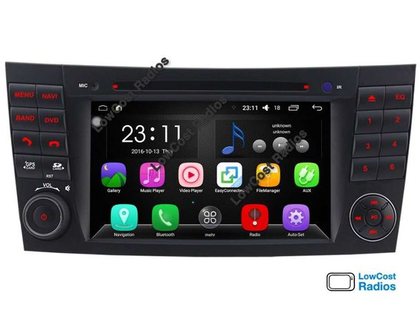 Auto Rádio GPS Mercedes Class E (ANDROID 9) Bluetooth + USB + DVD W211