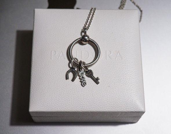 Pandora komplet charmsy zawieszki podkowa, kluczyk, love,