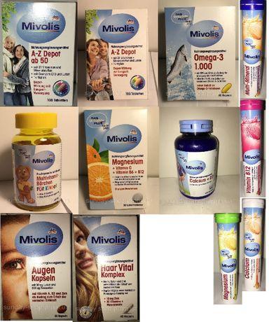 Вітаміни, БАД, витамины Mivolis dm Omega, a-z Depot, Calcium, B12