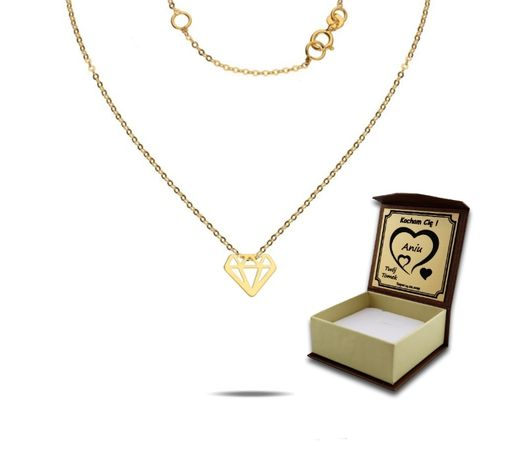Grawer Piękny Złoty 333 Naszyjnik Celebrytka Łańcuszek Diament