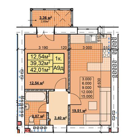 Однокімнатна в центрі з просторою кухнею (Ю)