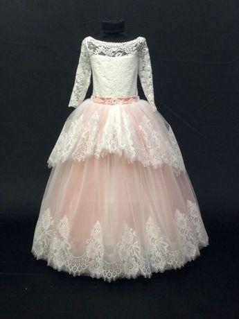 Платье плаття сукня бальное бежевое пудра выпускное випускне пышное