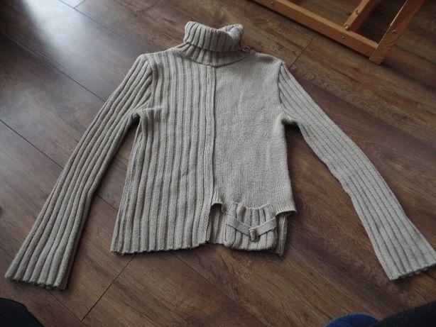 Oryginalny niepowtarzalny sweterek sweter golf z kieszonką, R. 38 - M