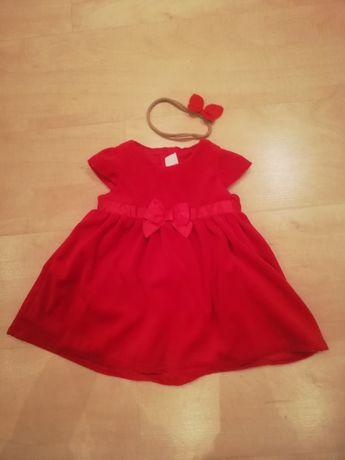 Śliczna sukienka H&M r. 74cm+opaska