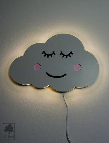 Lampa nocna, drewniana LED - Chmurka