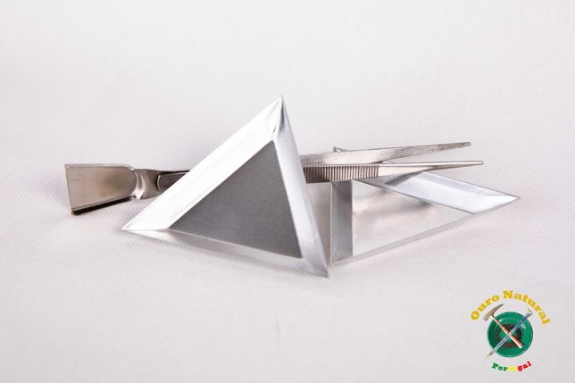 Kit para Balança precisão, dois pratos Alumínio e Pinça com Pá em inox