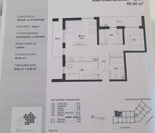 Mieszkanie 4-pokojowe wraz z garażem przy ul. Konfantego