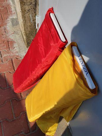 Materiał żółty i czerwony na szpuli