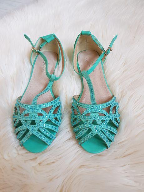 Zielone sandały z cekinami r. 36