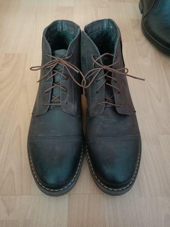 Buty zimowe męskie skórzane, ocieplane