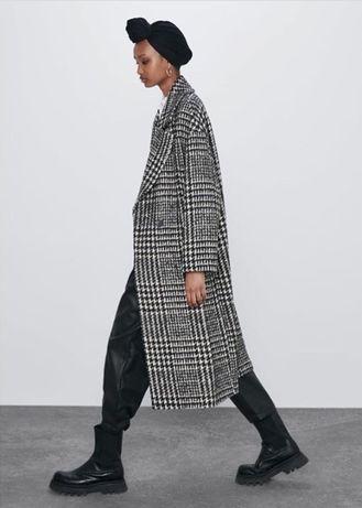 Длинное шерстяное двубортное пальто в клетку atm zara h&m