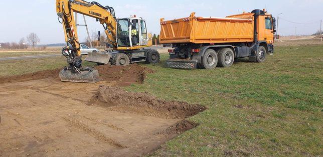 Uslugi Koparką niwelacja terenu przyłącza transport piasek kruszywa