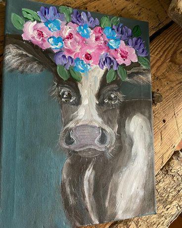 Obraz obrazek krowa z kwiatami, portret sielski, wiejski