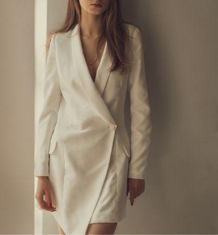 Biała marynarkowa sukienka Missguided