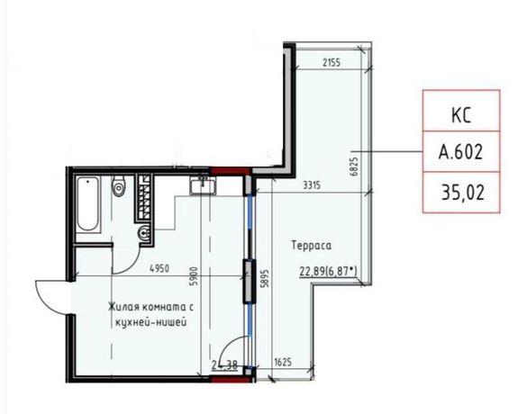 1 к. квартира в Пространстве на Дачной (терраса 23 м. с видом на море)
