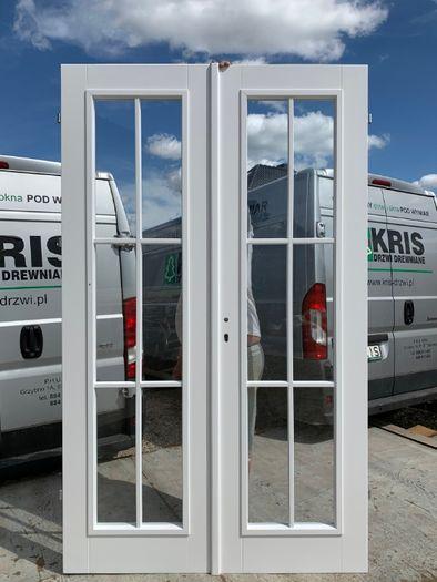 Drzwi sosnowe białe francuskie NIETYPOWE