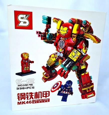 Klocki Iron man 338 klocków robot łądne chromowane pudełko