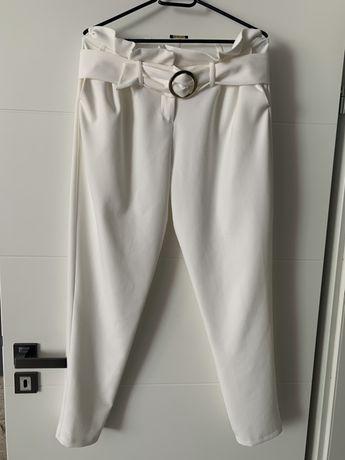 Spodnie biale plis pasek super eleganckie