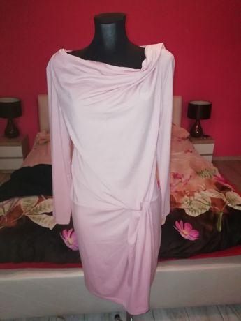 Sukienka różowa luźna zakładka Dekold łódka L-XL 40 42