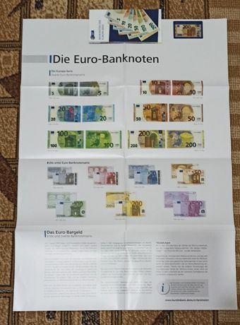 Брошюра плакат и карточка банкноты евросоюза