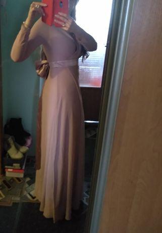 Вечерние выпускное платье на запах цвет пудра