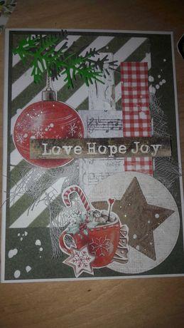 Kartka świąteczna Boże Narodzenie scrapbooking.