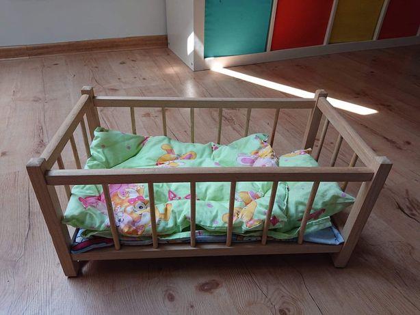 Drewniane łóżeczko - kołyska dla lalek