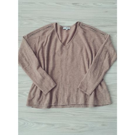 Sweterek damski cappuccino oversize zamki 40 42 L XL narzutka sweter