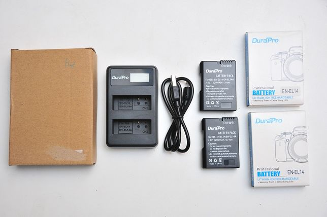 Набор 2в1 En-el14 2 аккума + зарядное на 2АКБ для Nikon D3xxx и 5ххх