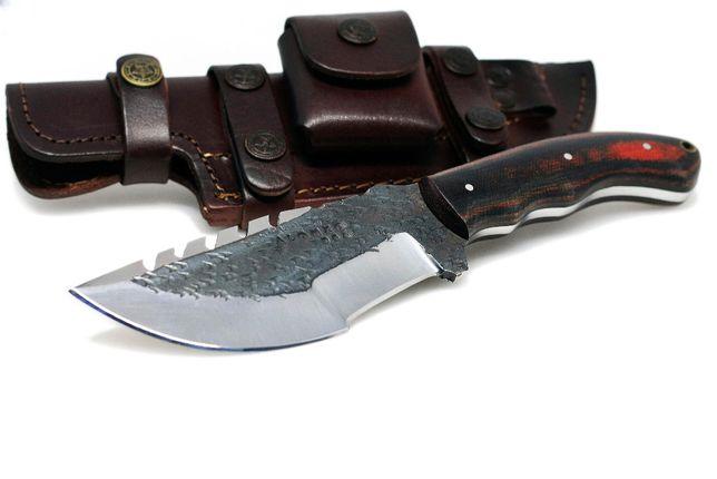 Nóż myśliwski TRACKER stal węglowa 1095 skórzane Etui bushcraft
