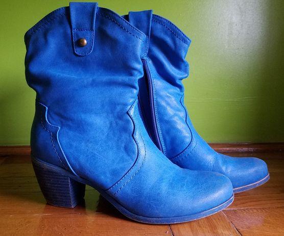 Botki niebieskie buty jesienne damskie 38