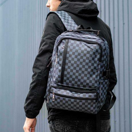 Мужской кожаный рюкзак в клетку городской повседневный LV