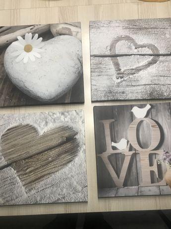 Obrazki LOVE 4 szt 32x32