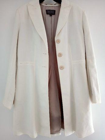 elegancki prosty płaszcz biały bawełna 100% Marka: Ann Taylor