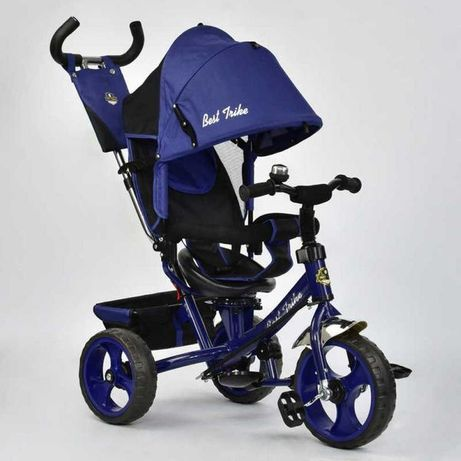 Трёхколёсный велосипед детский, усиленная родительская ручка Синий