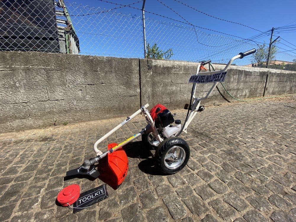 roçador de rodas gasolina 52cc com vara reforçada, disco e fio nylon