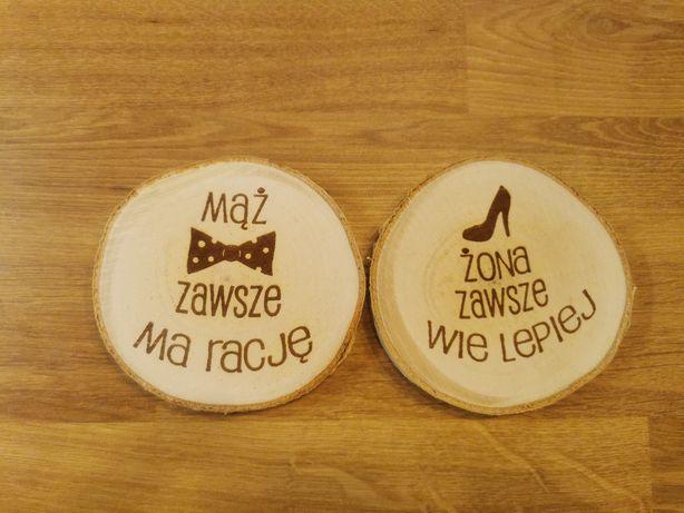 Prezent na ślub dla młodej pary zestaw podkładek