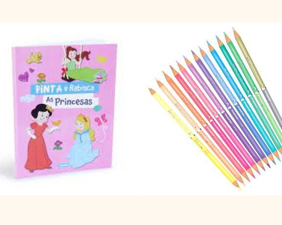 Conjunto de Pintar 1 Livro+ Caixa com 12 Lápis de cor