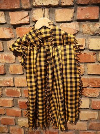 HUFTGOLD BERLIN, Szalik w żółto-czarną kratę, uszlachetniona bawełna