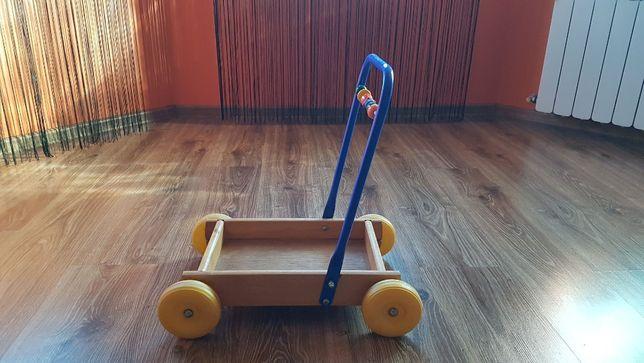 Drewniany wózek chodzik pchacz