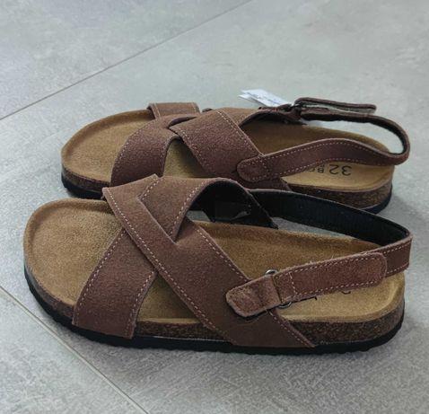 Sandały chłopięce reserved skórzane 32 Nowe 20cm