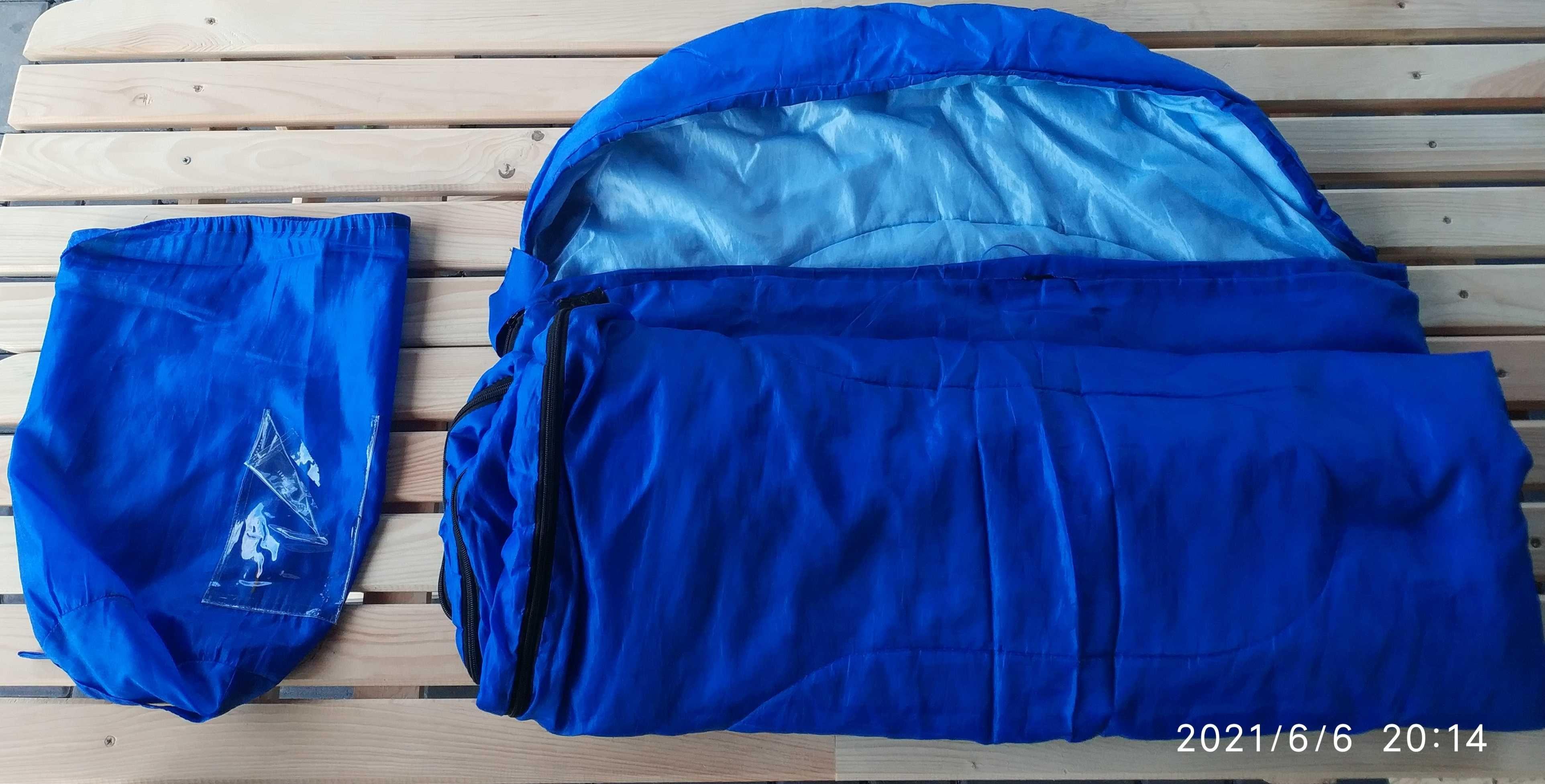 Śpiwór niebieski pod namiot kemping biwak plaża 180x70