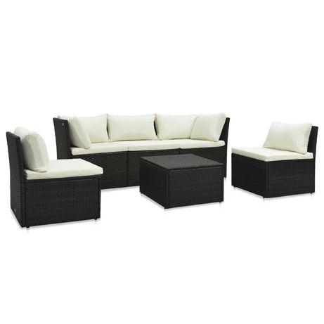 vidaXL 4 pcs conjunto lounge jardim c/ almofadões vime PE castanho 47810