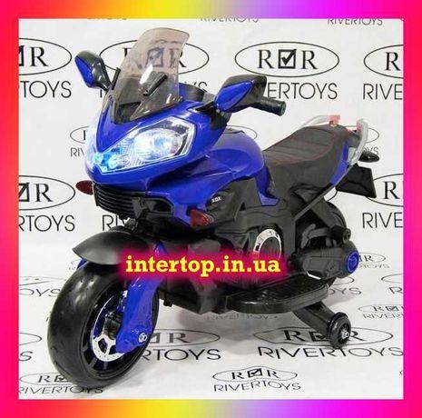 Детский двухколесный электромотоцикл M 3630 синий. Мотоцикл для детей