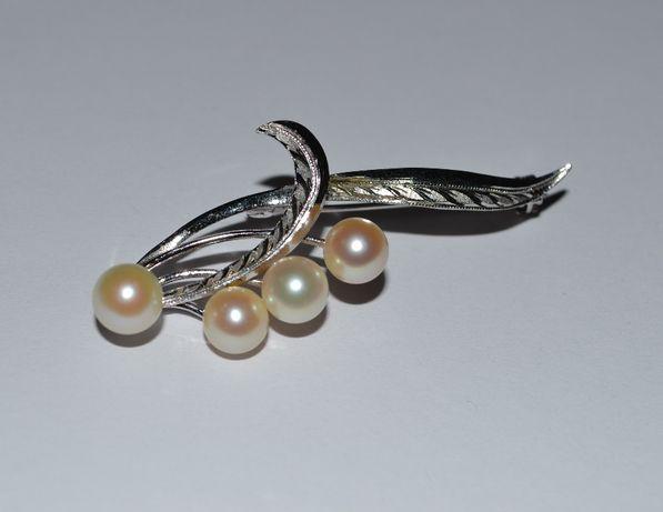 интересная брошь серебро жемчуг silver вес 5,22 грамма винтаж идеально