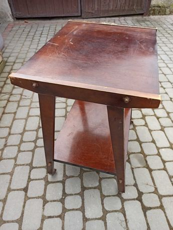 Drewniany stolik na kołach szafka RTV PRL meble
