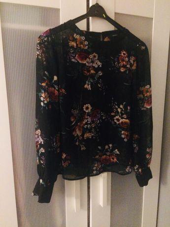 Koszula w kwiaty bluzka elegancka czarna Forever21 nowa, S